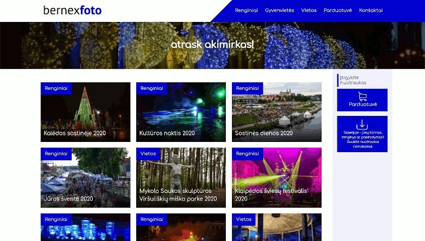 Bernex Foto projekto puslapio ekrano nuotrauka