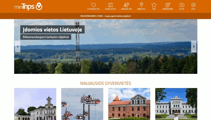 Minitrips.lt projekto puslapio ekrano nuotrauka