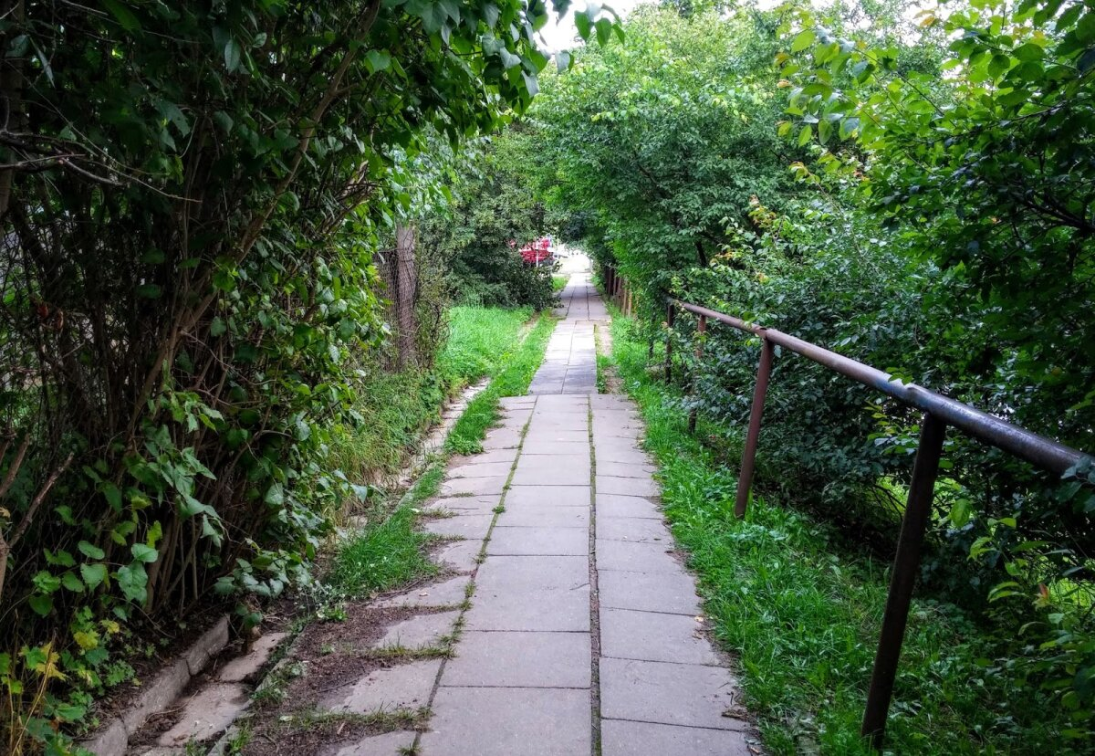 Narbuto g. takas palei gyvenamuosius namus, dešinėje apačioje - pati gatvė