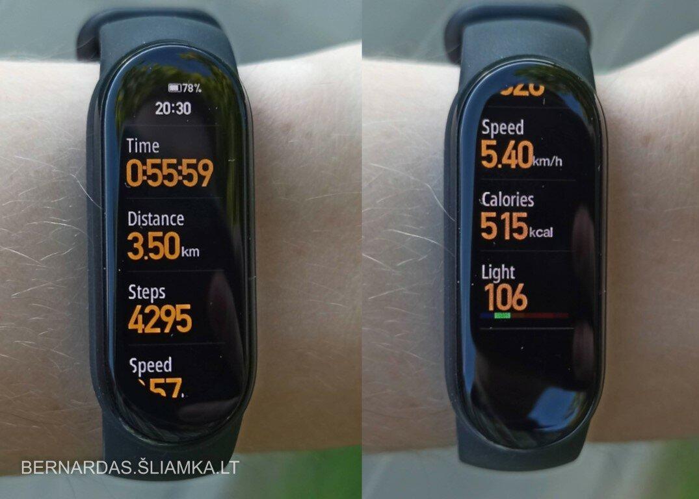 Ėjimo rėžimo metu matoma informacija apyrankės ekrane