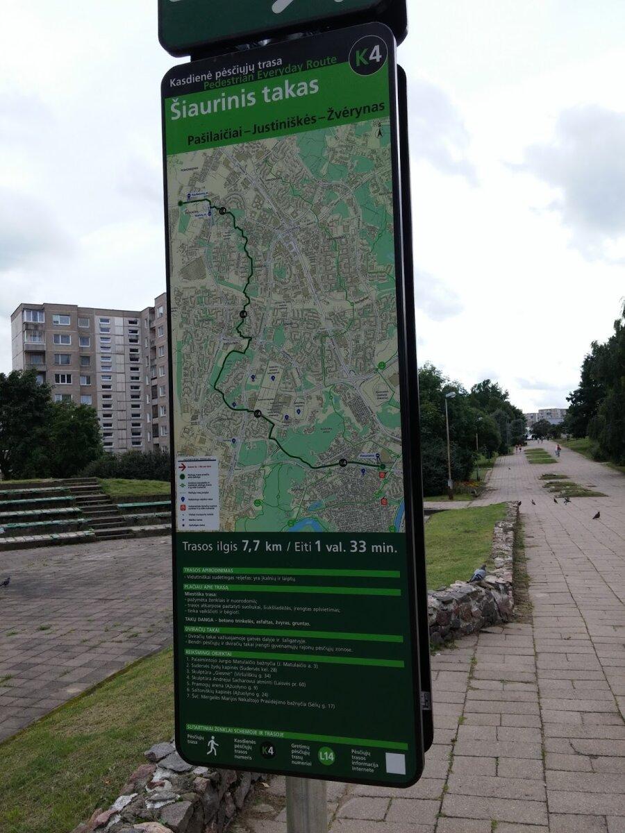 Informacinė pėsčiųjų trasos lentelė su žemėlapiu