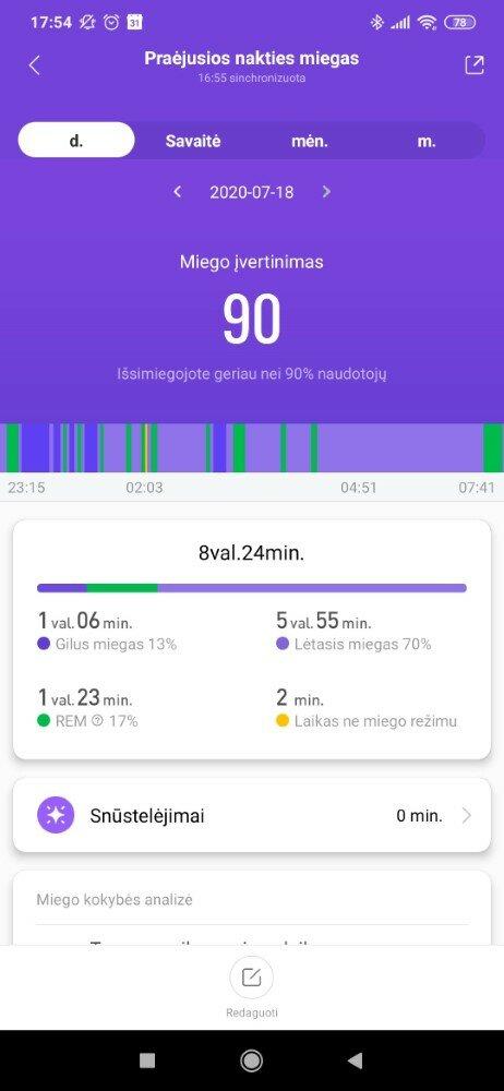 Atnaujintas miego informacijos atvaizdavimas su REM faze