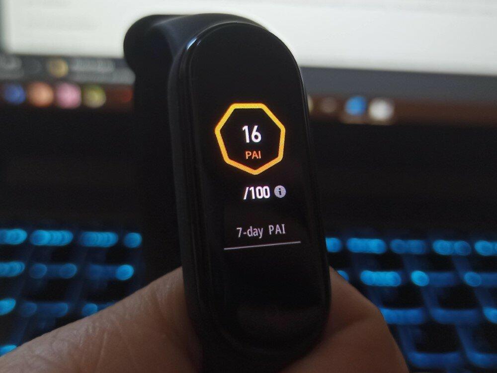 """7 dienų """"PAI"""" taškų suma apyrankės ekrane (po pusantros dienos testavimo)"""